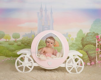 Wooden Princess carriage Newborn Baby Photography Prop