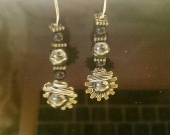 Metallic Black Beaded Earrings