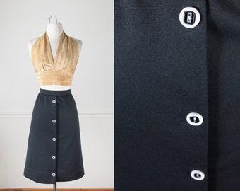 Black A Line Skirt, Black Skirt, 60s Skirt, Mod Skirt, High Waist Skirt, Midi Skirt, 70s Skirt, Minimalist Fashion, Knee Length Skirt