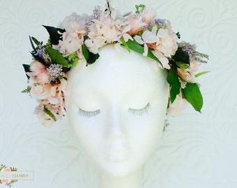 Preserved/ Dried flower crown, halo, hair flowers, wedding flowers, bohemian bride, garden wedding, flower girl, real flowers, pink flowers