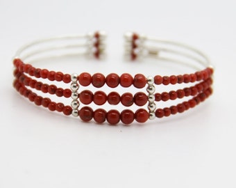 Corsican coral and silver bracelet