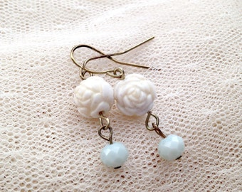 Pale Rose and Blue Drop Earrings