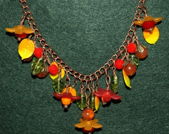 Flowers and Leaves Necklace Fall Colors Autumn Jewelry
