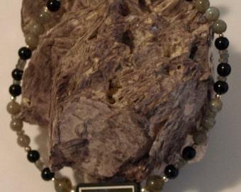 SALE!  Handmade Necklace Intarsia Labradorite Onyx Sterling Silver black glass
