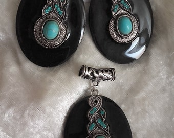 handmade earring and pendant,black turquoise