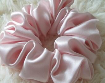 Free shipping silk hair scrunchie. Hypoallergenic hair accessories. Baby pink silk hair scrunchie. Pink hair scrubchie. Summer scrunchie.