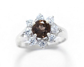 R1661 Sterling Silver Smoky Quartz Ring.