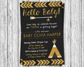 Tribal Baby Shower Invitation - Teepee Arrows Feathers Native Aztec