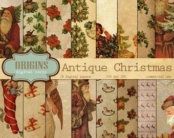 Antique Christmas Digital Paper - Vintage Christmas Patterns, Digital Scrapbook Paper Pack Old Paper Instant Download, Retro Holiday