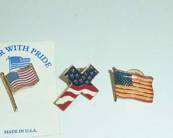 Lot of 3 USA Flags Pins Patriotic 4th of July US Pride Cross Stars Nationalistic Brass Metal