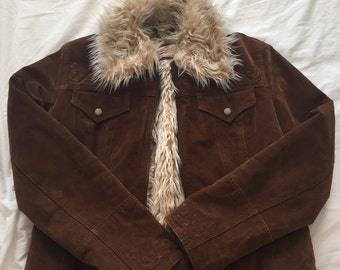 Brown suade and fur jacket