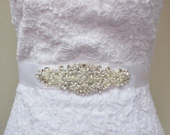 Crystal and pearl Bridal Belt on Satin Sash - Bridal Sash - Rhinestone and Pearl Belt -Wedding Belt -  Rhinestone Applique Belt -EYM B068