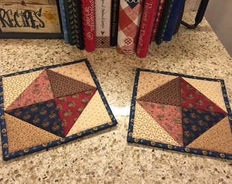 Quilted Potholders / Country Decor / Kitchen Potholders / Handmade / Item #1194