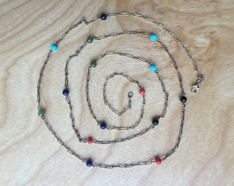 Sterling Beaded Chain Necklace -- 745