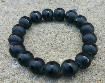 Chunky Matte Black Beaded Bracelet, 12mm Bead Bracelet, Yoga Bracelet, Womens Jewlery, Glass Beads, Stretch Bracelet