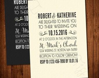 Simple Modern Printable Wedding Invitation