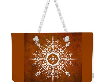Earth Tone Mandala Tote,Large Canvas Tote BagMandala Tote Bag,Mandala Bag,Travel Tote,Boho Bag,Mandala Bag,Book Bag,Shoulder Bag,Laptop Bag
