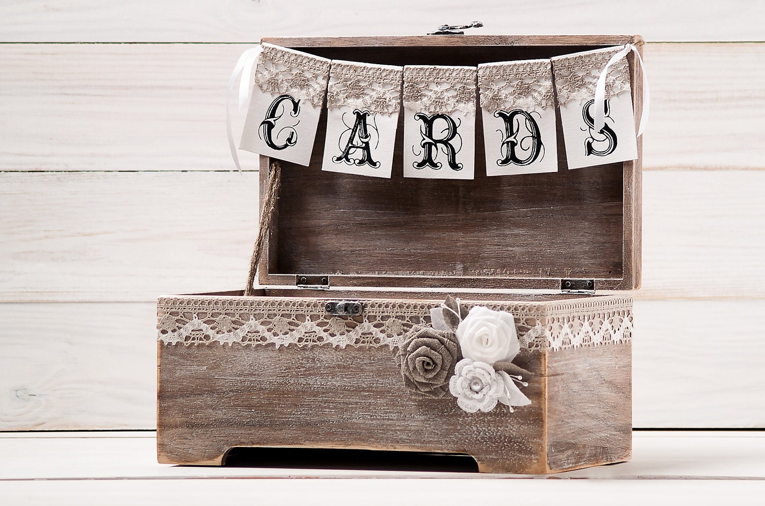 Wedding Gift Card Box Holder: Rustic Wedding Card Box Holder With Burlap And Lace Cards