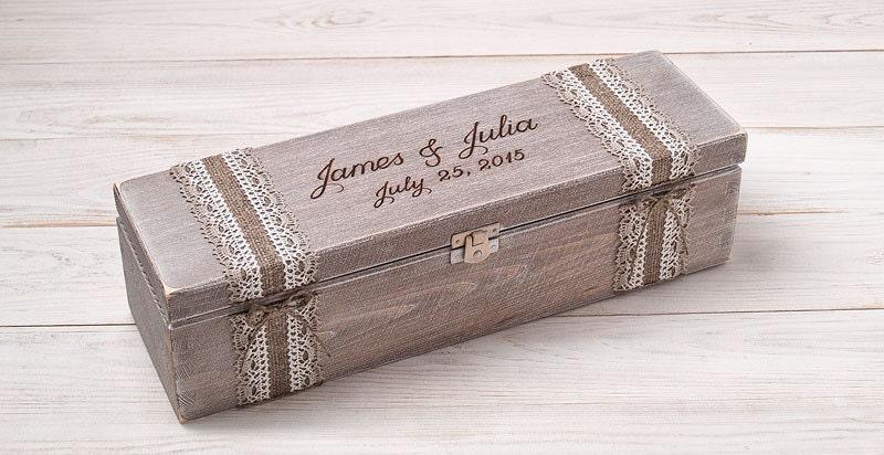 Wedding Ceremony Gift: Wedding Wine Box Ceremony Fight Box Personalized Wedding Gift