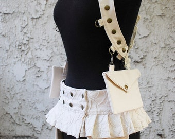 Women's Ivory Lace & Twill Shoulder Holster and Utility Belt 2 Piece Set, With Pouches, Custom Size, Made to Order