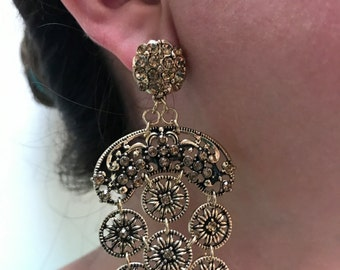 Old Gold Dangle Earrings / Old Gold Little Circles with Gold Crystals.