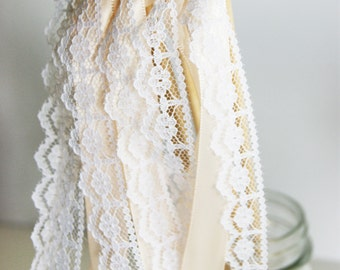 50 Custom Wedding Wands - Blush With White Lace - Custom Colors Available - With or Without Bells