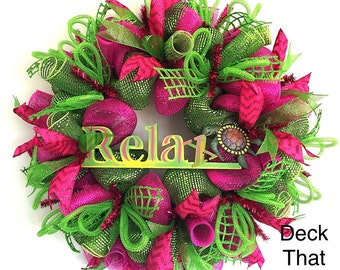 Hot Pink and Lime Green Relax Mesh Wreath, Pink and Green Summer Mesh Wreath, Deck That Wall