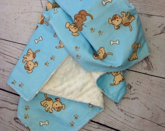 Dog Minky Blanket with Beige Minky Dot, Dog Blanket, Pet Blanket, Minky Pet Blanket