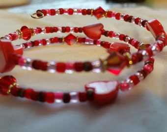 Red heart & seed bead memory  wire bangle  bracelet