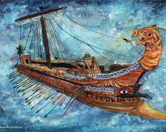 Ago II watercolor Painting Print