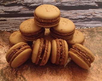 Chocolate Hazelnut  Macarons French Macaroons Almond Cookies 12 pc