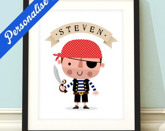 Personalised pirate print, boys pirate print, boys pirate art, pirate print, pirate wall art, pirate decor, pirate theme
