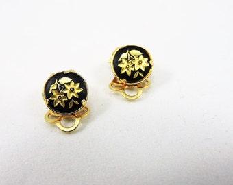 24k Damasquinado De Oro Clip On Earrings