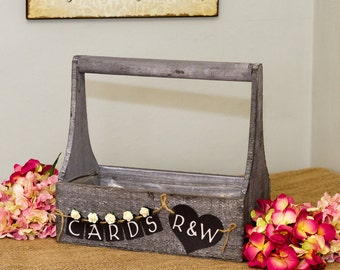 Personalised Wooden wedding card box crate bunting initials roses