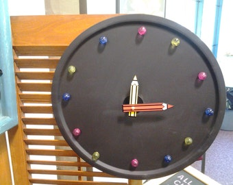 Magnetic chalkboard clock. 12 Round With Crayon Hands, Magnetic  Marks