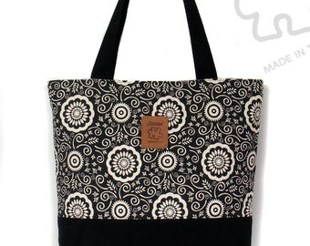 Tote bag shoulder bag Black & White Large Canvas Bag Laptop bag Inner pocket Zipper Handmade bag