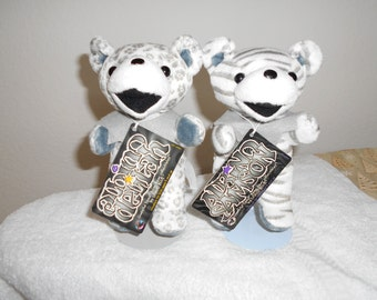 """SALE!Rare Set of Grateful Dead Bears """"Albino Samson"""" and """"Albino Delilah""""/New With Tour Memory Tags/Liquid Blue/Collectible!!/Retired 90's"""