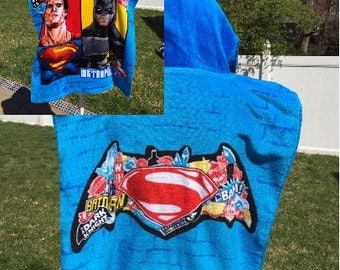 Super HERO Batman Superman inspired Hooded Poncho Towel Personalized