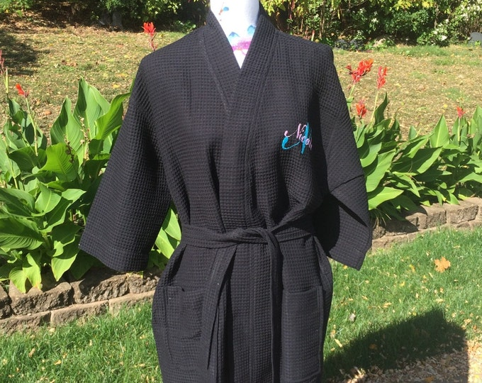 Monogrammed BLACK Waffle Kimono Short Robe Square Pattern - Personalized - Black - Wedding Bride Pool Spa Robe