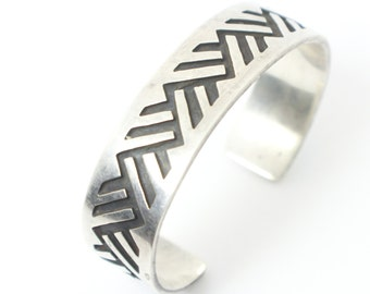 Wide Silver Cuff Bracelet with Carved Silver Zig-Zags and Cut, Machined Silver