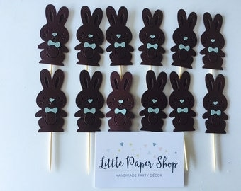 Handmade Cupcake Toppers - Easter Chocolate Rabbit Bunny x 12