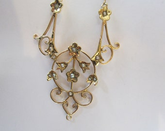 14k Gold Seed Pearl Pendant and Chain, Edwardian Style Jewellery, Antique Jewellery