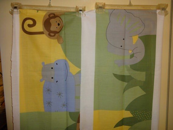 Jungle animals giraffe hippo monkey elephant nursery for Nursery monkey fabric