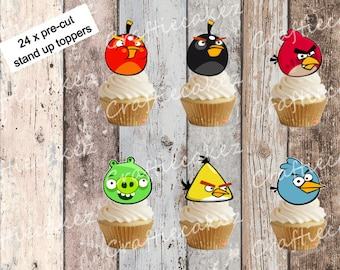 24 x Pre Cut Edible Angry Birds Cupcake Toppers