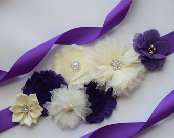 Sash,Dark purple and ivory Sash , flower Belt, maternity sash