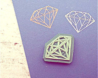 Diamond rubber stamp, hand-carved, rubber stamps, diamond stamp, handmade rubber stamp, crystal stamp, crystal rubber stamp, crystal, diy