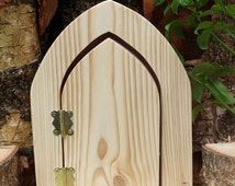 Popular items for wooden fairy door on etsy for Unfinished fairy door