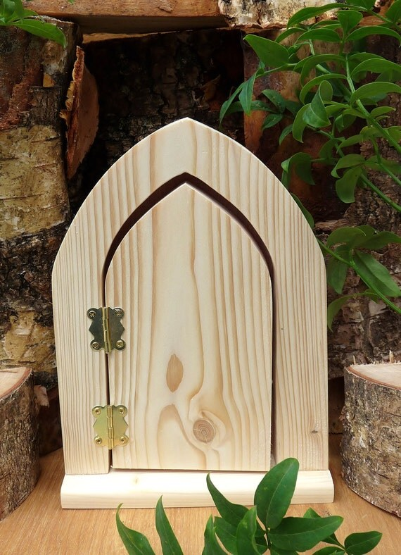 Unfinished wooden fairy door gothic arch for Wooden fairy doors that open