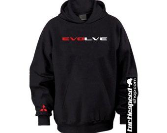 evoLVE Black Hoodie Sweater Mitsubishi EVO