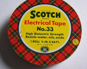 Vintage 1940's Scotch Electrical Tape Red Plaid Tin Made in USA